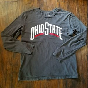 OHIO STATE-MENS LONG SLEEVE SCARLET & GRAY T-SHIRT